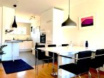 Dining table and fully equipped kitchen