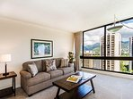 Living Room Floor to Ceiling Windows with Mountain Views!