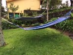 Shared hammocks to enjoy on a warm sunny day!