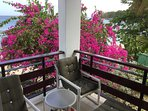 corner of comfortable balcony with view of   calm sea, beach and bougainvillea tree in garden below