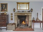 The early Georgian fireplace in the Blue Drawing Room. It is glued to a Tudor chimneypiece beneath!