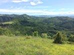 Uitzicht over bossen en heuvels