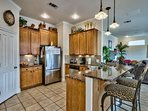 Kitchen, granite counters and stainless appliances