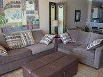 Sleeper-sofa, loveseat, and ottoman