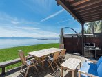 Lakefront patio has gas grill, umbrella, expandable dining table to seat 6 - 10.