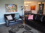 Plenty of seating in the living room with a queen sofa sleeper when needed.