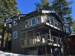 Mountain home has views of Lake Tahoe and 3 decks! PRIVATE HOT TUB on the 1st floor deck.