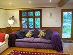 Living room with garden door.