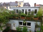 Outside your window: A courtyard, lush green and singing birds