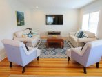 Spacious Living room with Flat Screen TV and WIFI  - 388 Main Street (The Priscilla House) Chatham Cape Cod New England...
