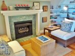 Cozy reading nook with gas fireplace - third floor