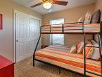 Kids will love sleeping in the twin-over-full bunk bed.