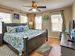 Sink into the large king-sized bed in the master bedroom.