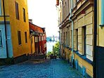 Södermalm, three stops away or10 min, from the accommodation.