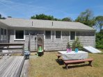 Exterior- picnic table and good size yard - 13 Marlin Road South Harwich Cape Cod New England Vacation Rentals