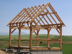 The timber frame guest house, during the building phase, just after the raising!
