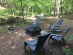 Creekside seating and fire pit for your enjoyment