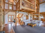 Soaring cathedral ceilings make this home feel spacious and open.