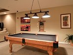 Billiards table in the rec room