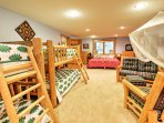 Enjoy all the cozy sleeping options in the cabin's 'Bunk Room.'