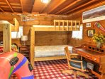 4 children can sleep in the detached bunk room/play room!