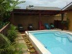 Private swimming pool and Gazebo in the backyard.