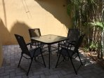 Outdoor dining on the back patio