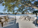 Walk out the sliding door to this view and beach! Covered patio w/grill, live oak for shade, Lg Deck