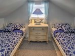 2 upstairs bedrooms both feature 2 twin-sized mattresses, perfect for younger travelers.