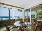 Enjoy dining with an ocean front view.