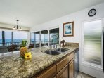 Enjoy using the kitchen while you watch the waves!
