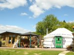 Bluebell Yurt with private Hot Tub bathroom and kitchen over looking Lily Lake