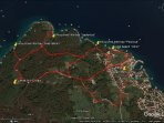 Google map and the way from Apartment Alma to the untouched little bays anf to Fumak Hill Cross