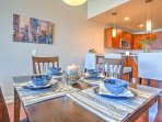 Gather around this dining table set for 4 and enjoy a delicious meal altogether.