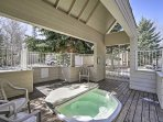 Soothe your muscles in the community hot tub.