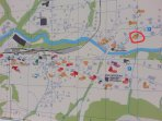Location of Eyhus is circled in red. 10 min walk from rail station of 15 min with a bag on wheels