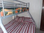 2nd bedroom with bunk bed comes with own built in double wardrope