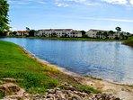 Vintage grand community, natural lake on side.