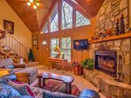 Cozy up beside the wood-burning fireplace to stay warm during the winter months.