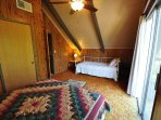 Guest bedroom, third floor, 1-queen + 1-twin. View 2. Bigfoot Cabin Unit 4 Lot 281 Pine Mountain Lake Vacation Rental...