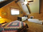 Guest bedroom, third floor, 1-double + 2-twins. Bigfoot Cabin Unit 4 Lot 281 Pine Mountain Lake Vacation Rental Near...