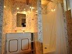Guest bathroom, first floor. Bigfoot Cabin Unit 4 Lot 281 Pine Mountain Lake Vacation Rental Near Yosemite National Park