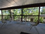 Covered deck, first floor. Bigfoot Cabin Unit 4 Lot 281 Pine Mountain Lake Vacation Rental Near Yosemite National Park
