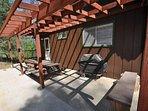 Back patio. Bigfoot Cabin Unit 4 Lot 281 Pine Mountain Lake Vacation Rental Near Yosemite National Park