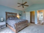 This plush queen bed in the Master ensures a restful sleep!