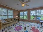 The sunroom offers a full pullout bed for additional sleeping