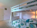 The bunk room offers a full-over-full bunk bed!
