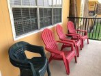 Enough chairs for your group to sit on the balcony!