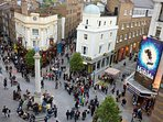 The historic Seven Dials meeting place next to the apartment