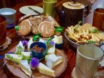 A selection of the best Welsh cheeses, homemade chutney, Bara Brith and Welsh cakes on arrival.